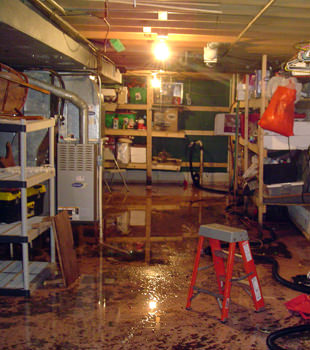 a flooded home in Brick
