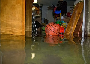 A flooded basement bedroom in Hightstown